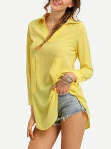 Dual Pocket Pointed Collar Chiffon Blouse