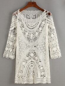 Hollow Out Crochet Cover-Up Blouse