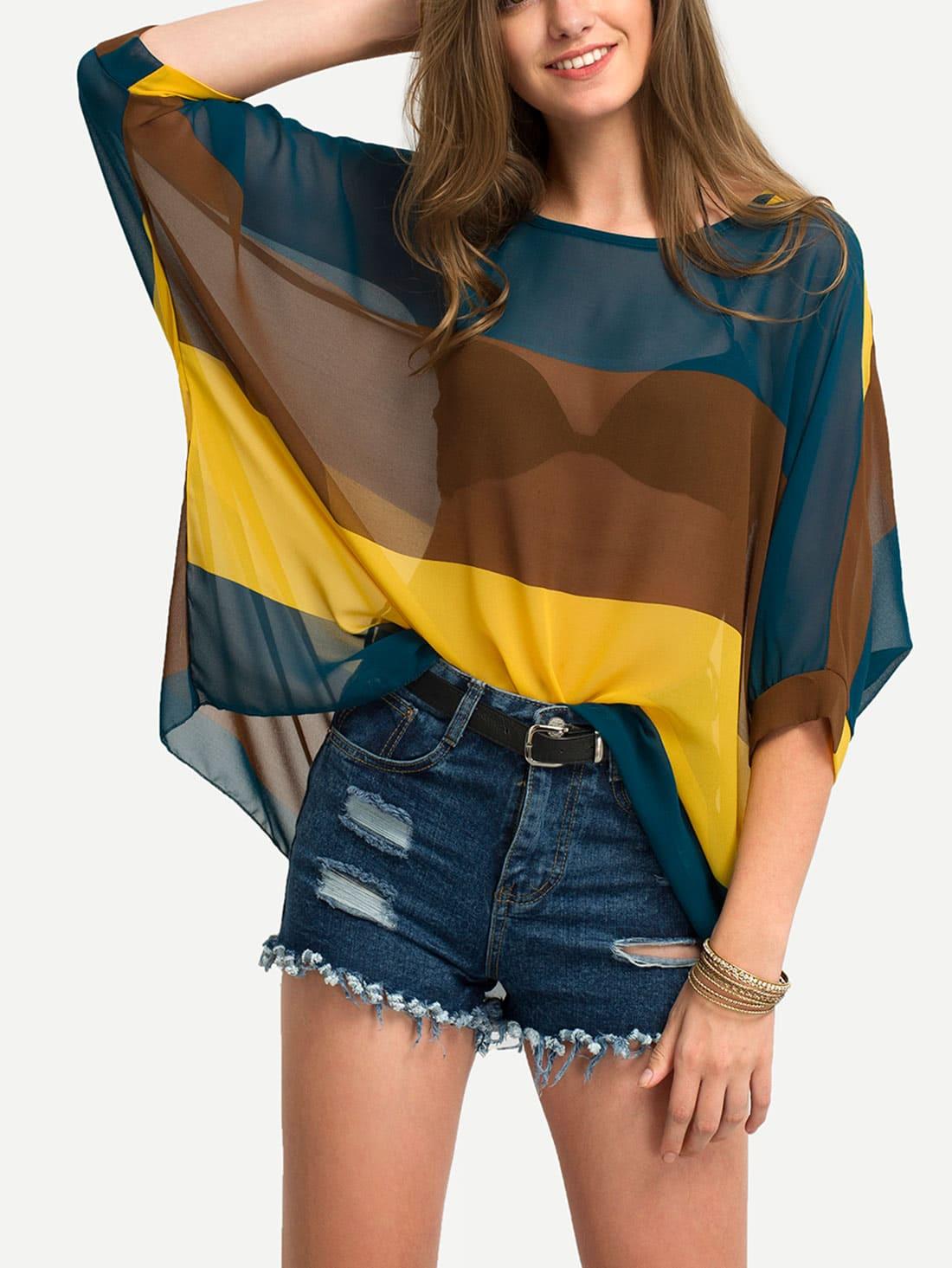 Color Block Semi-Sheer Poncho Blouse
