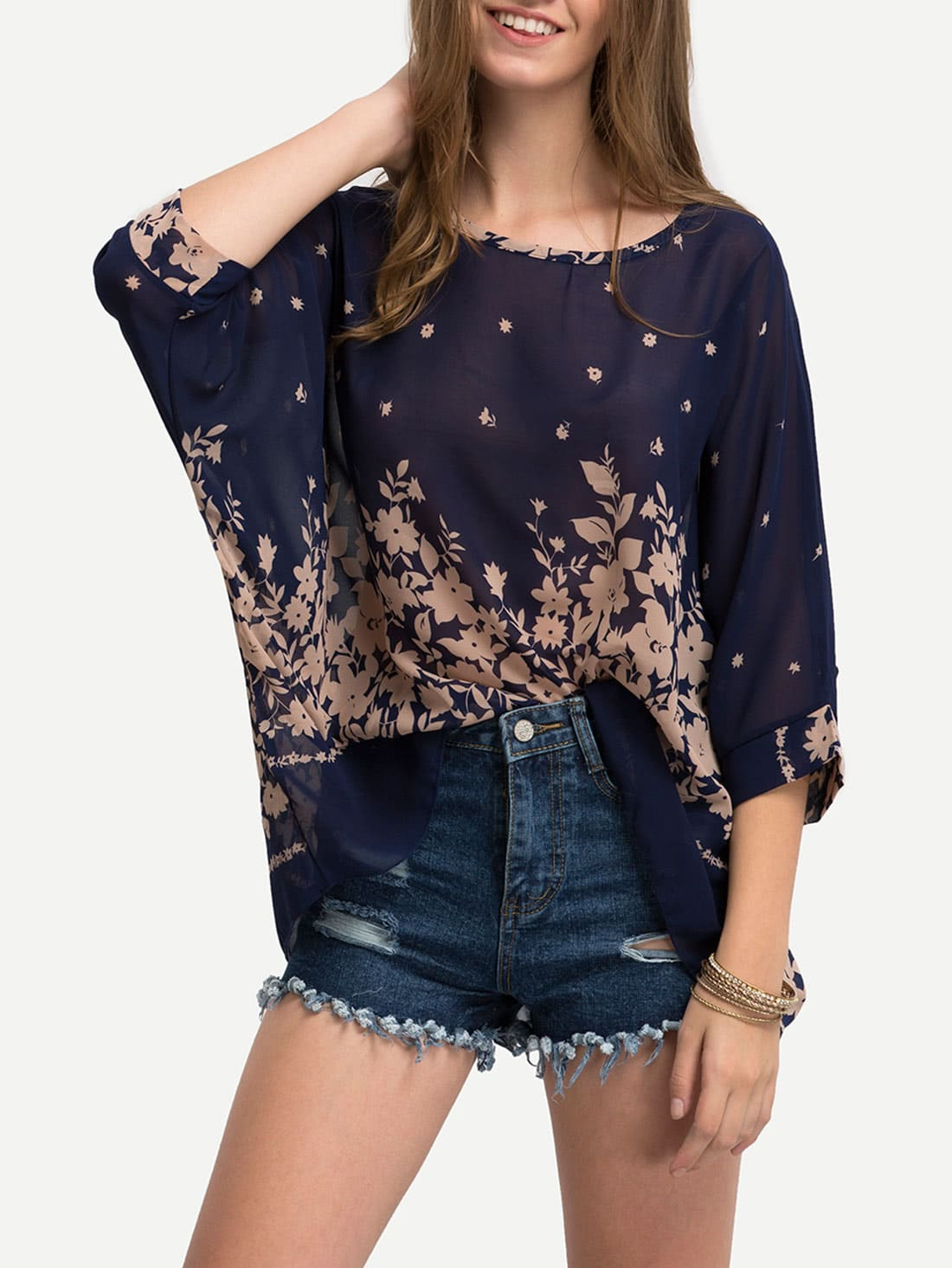 Flower Print Semi-Sheer Poncho Blouse -SheIn(Sheinside)