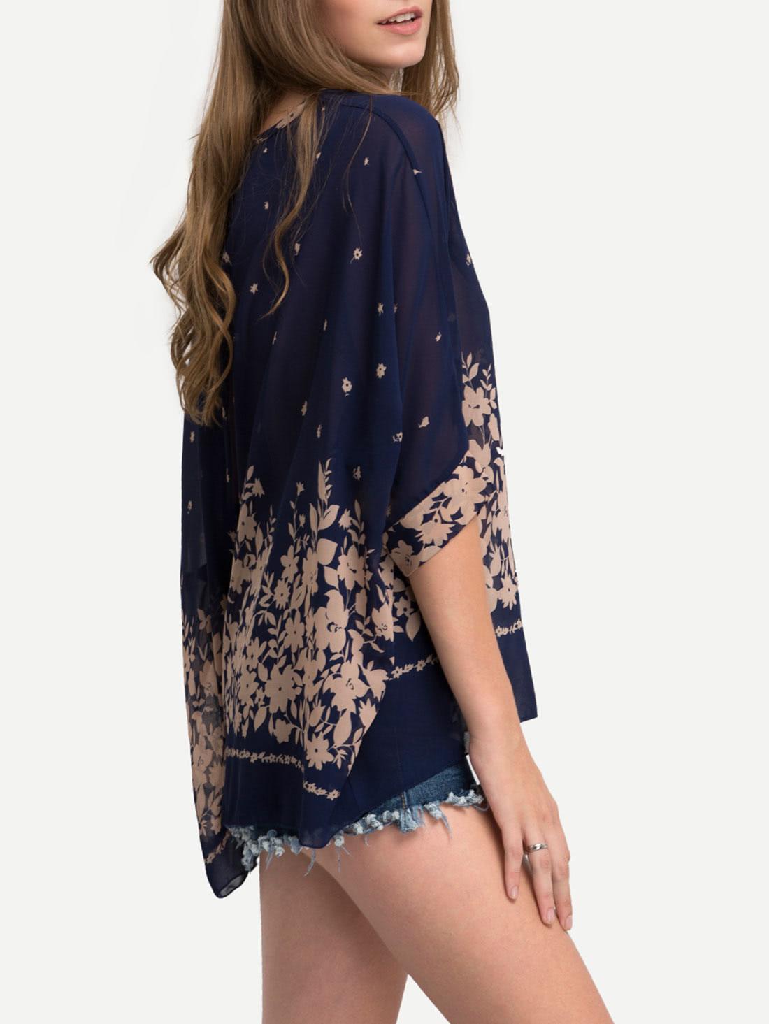 Flower Print Semi-Sheer Poncho Blouse - Blue