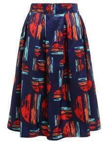 Geometric Brush Stroke Print Skirt