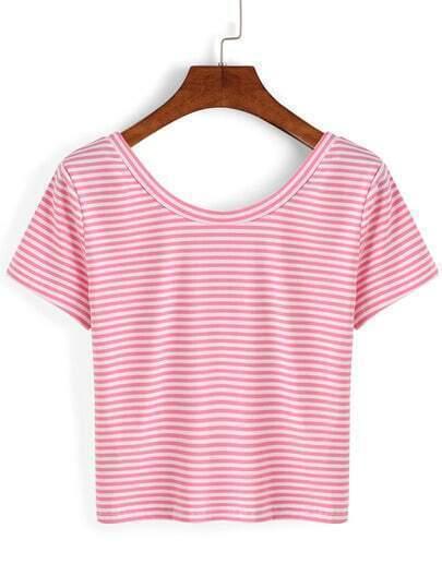 Thin Striped Crop T-shirt - Pink