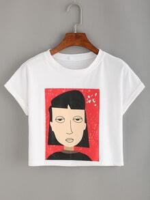 Cartoon Portrait Print Crop T-shirt