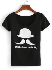 Abstact Hat Man Print T-shirt