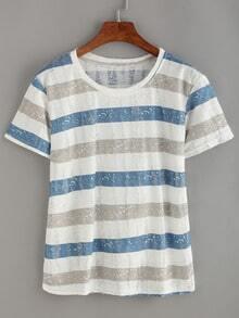 Grey & Blue Striped Frayed T-shirt