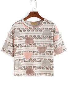 Allover Bear Print T-shirt - Pink