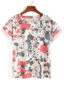 Spray Paint Rolled Sleeve T-shirt