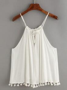 Keyhole Halter Neck Tassel Trimed Cami Top