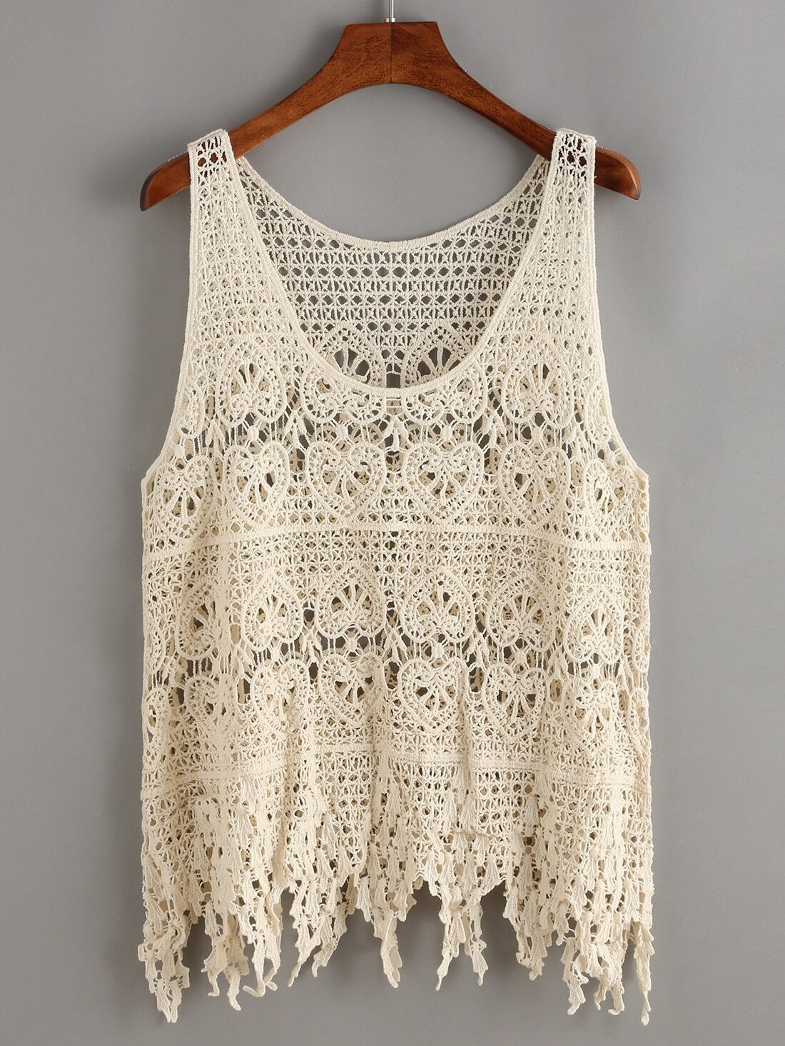 Crochet Tank Top : Hollow Out Crochet Fringe Tank Top -SheIn(Sheinside)