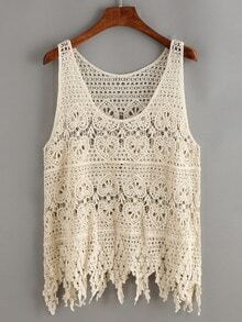 Hollow Out Crochet Fringe Tank Top