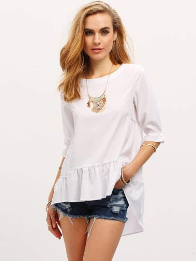 Elbow Sleeve High Low Ruffle Blouse