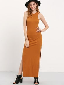 Brown Sleeveless Split Side Maxi Dress