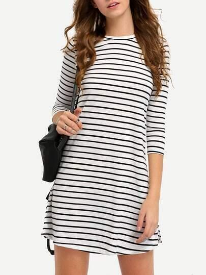 Black White Striped Three Quarter Sleeve Dress