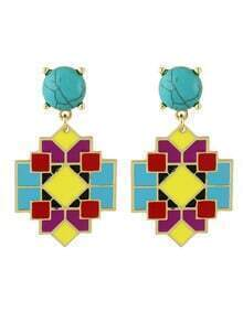 Enamel Geometric Shape Big Earrings