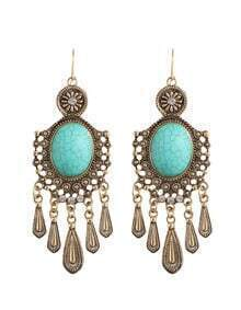 Gold Turquoise Big Chandelier Earrings
