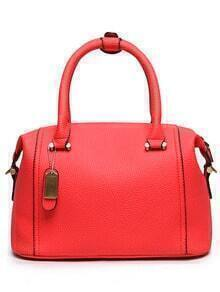 Embossed Faux Leather Structured Bag - Red