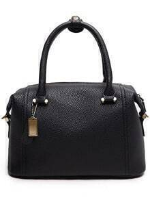 Embossed Faux Leather Structured Bag - Black