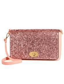Glitter Turnlock Flap Shoulder Bag