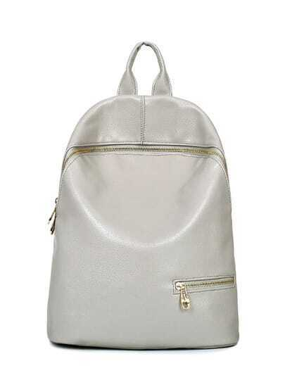 Embossed Faux Leather Zip Front Backpack