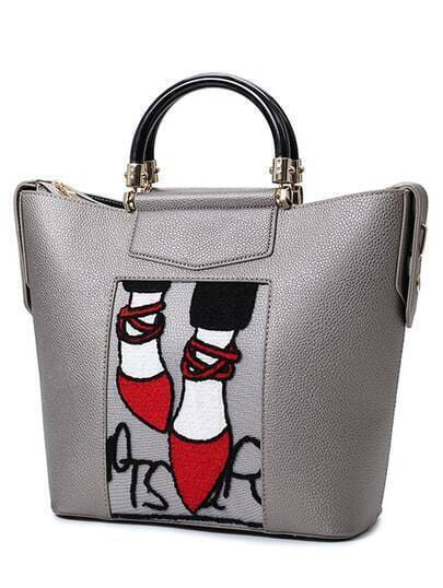 Red Heels Embroidered Tote Bag