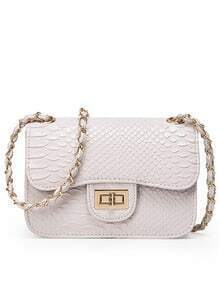 Faux Crocodile Embossed Leather Turnlock Flap Bag - Beige