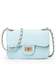 Faux Crocodile Embossed Leather Turnlock Flap Bag - Baby Blue