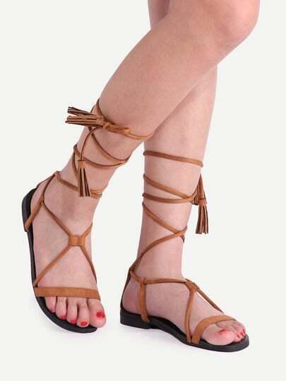 sandalen flach mit schn rung am bein braun german shein