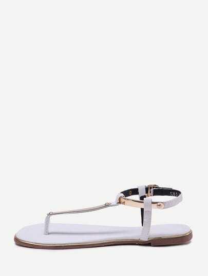 White T-strap Block Sandals