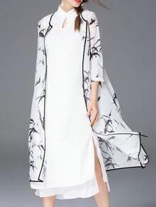 Vestido estampado dos pieza -blanco