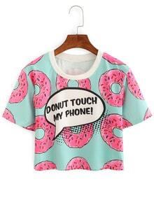Contrast Neck Donut Print Crop T-shirt