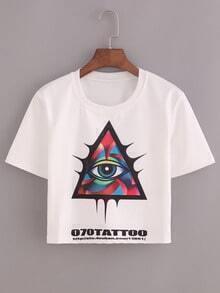 Triangle Eye Tattoo Print Crop T-shirt