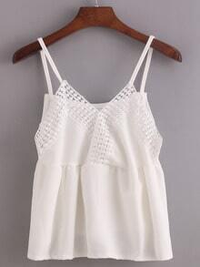 Lace Neckline Surplice Front Peplum Cami Top - White