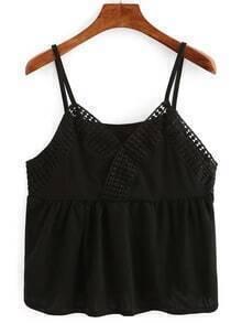 Lace Neckline Surplice Front Peplum Cami Top - Black