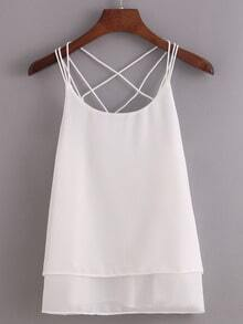 Caged Layered Chiffon Cami Top - White