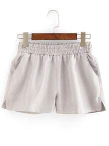 Elastic Waist Grey Shorts