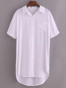 Pocket Front High-Low Shirt Dress