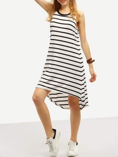 Halter Neck Striped High-Low Swing Dress