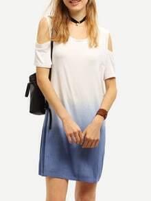 Cutout Shoulder Blue Ombre Shift Dress