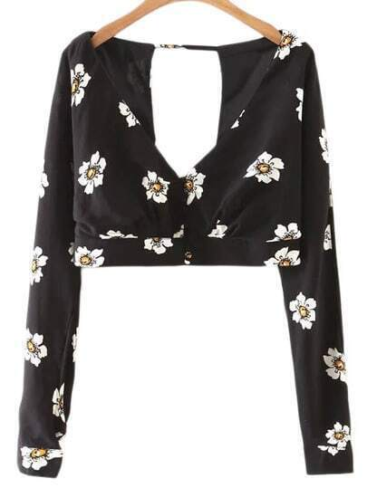 Black Cross V Neck Cut Out Backless Flowers Print Blouse