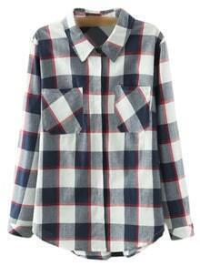 Multicolor Pockets Buttons Front Plaids Blouse