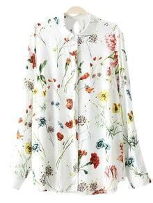 Multicolor Keyhole Back Floral Print Blouse