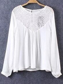 White Keyhole Back Lace Splicing Blouse