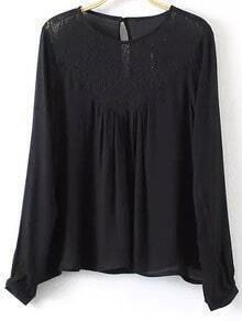 Black Keyhole Back Lace Splicing Blouse