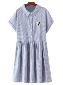 Blue Short Sleeve Bee Embroidery Stripe Dress