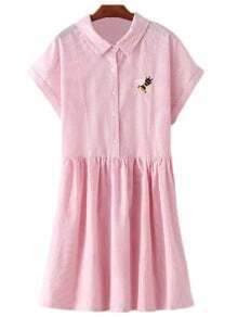 Pink Short Sleeve Bee Embroidery Stripe Dress