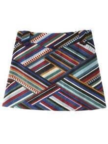 Multicolor Zipper Side Geometric Stripe Skirt