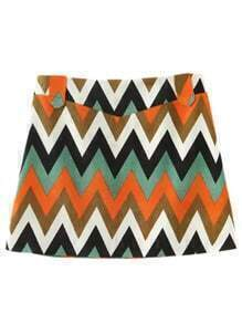 Orange Zipper Side Wave Printing Skirt