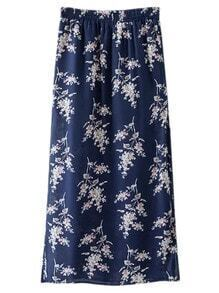 Navy Split Side Flowers Print Long Skirt