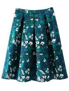 Multicolor Zipper Side Flowers Print Pleated Skirt